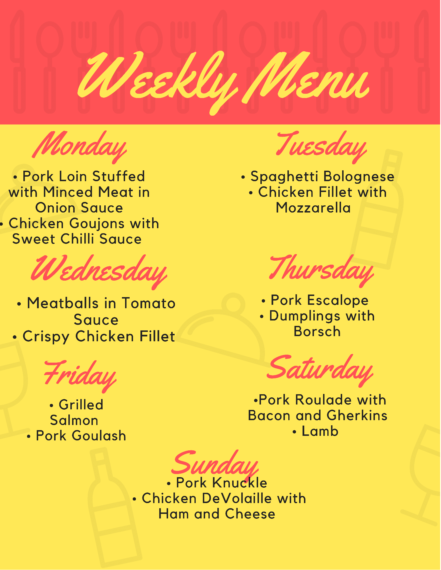 Daily Specials for this Week